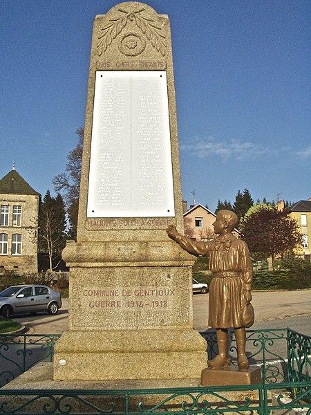Photo du Monument Historique Monument aux morts situé à Gentioux-Pigerolles