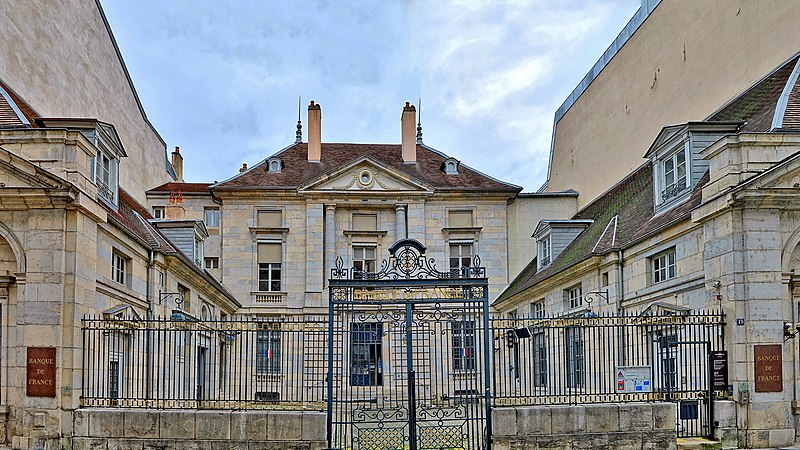 Photo du Monument Historique Ancien Hôtel Pétremand de Valay, actuelle Banque de France situé à Besançon
