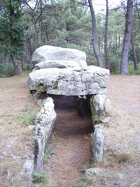 Photo du Monument Historique Tumulus à trois dolmens de Mané-Kérioned situé à Carnac