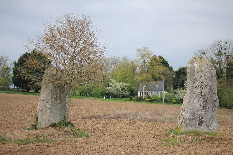 Photo du Monument Historique Deux menhirs à Kernan situé à Saint-Barthélemy