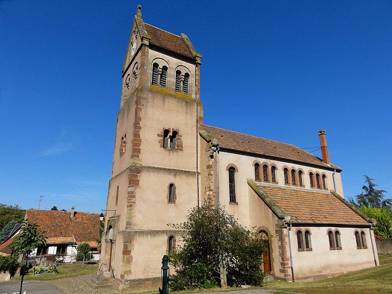 Photo du Monument Historique Eglise protestante de Scharrachbergheim situé à Scharrachbergheim-Irmstett