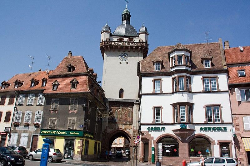 Photo du Monument Historique Tour dite Tour Neuve ou Tour de l'Horloge situé à Sélestat