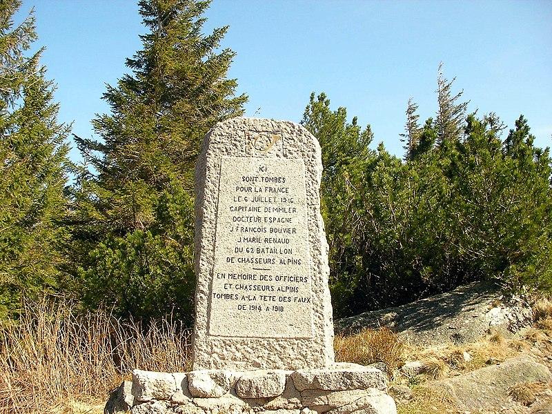 Photo du Monument Historique Champ de bataille de la Tête-des-Faux (également sur commune de Le Bonhomme) situé à Lapoutroie
