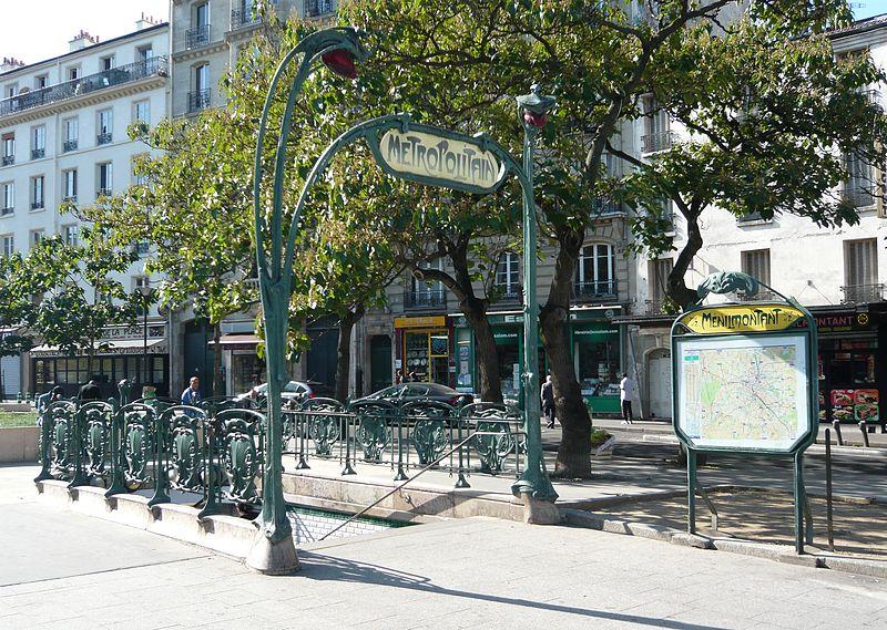 Photo du Monument Historique Métropolitain, station Ménilmontant situé à Paris 11e Arrondissement
