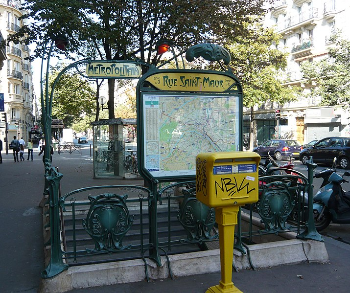 Photo du Monument Historique Métropolitain, station Saint-Maur situé à Paris 11e Arrondissement