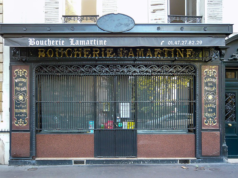 Photo du Monument Historique Boucherie Lamartine situé à Paris 16e arrondissement