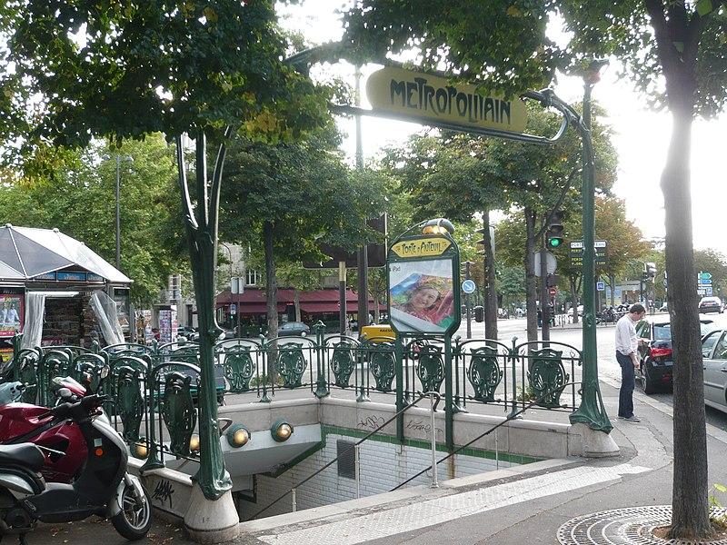Photo du Monument Historique Métropolitain, station Porte-d'Auteuil situé à Paris 16e Arrondissement