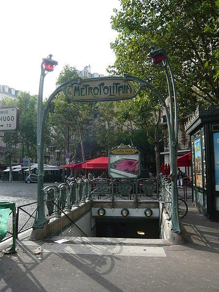 Photo du Monument Historique Métropolitain, station Victor-Hugo situé à Paris 16e Arrondissement