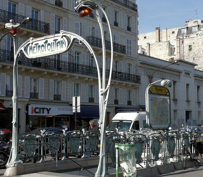 Photo du Monument Historique Métropolitain, station Rome situé à Paris 17e Arrondissement