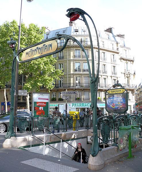 Photo du Monument Historique Métropolitain, station Wagram situé à Paris 17e Arrondissement