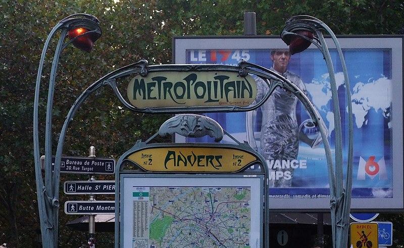 Photo du Monument Historique Métropolitain, station Anvers situé à Paris 18e Arrondissement