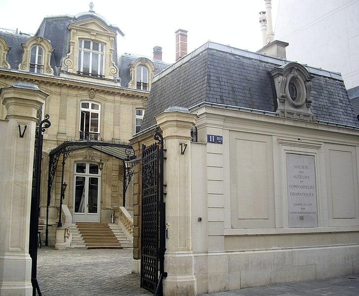 Photo du Monument Historique Immeuble, ancien hôtel Blémont, actuellement siège de la Société des auteurs et compositeurs dramatiques (SACD) situé à Paris 9e Arrondissement