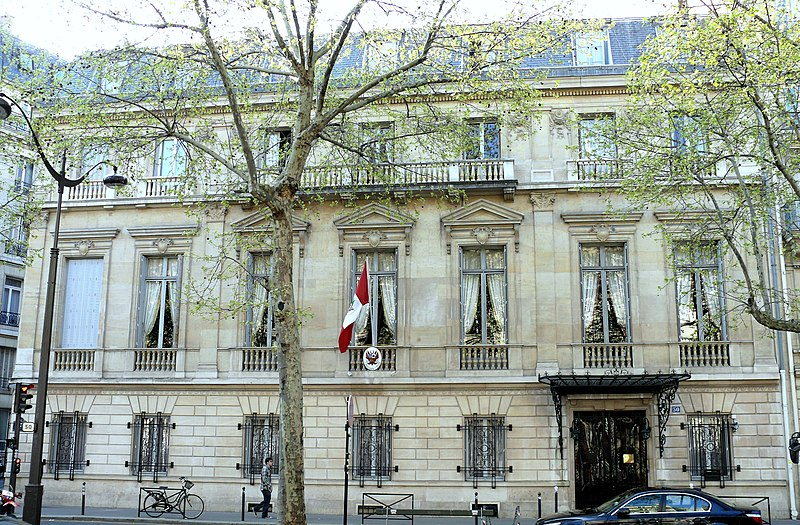 Photo du Monument Historique Immeuble de l'Ambassade du Pérou (résidence de l'ambassadeur) situé à Paris 16e Arrondissement