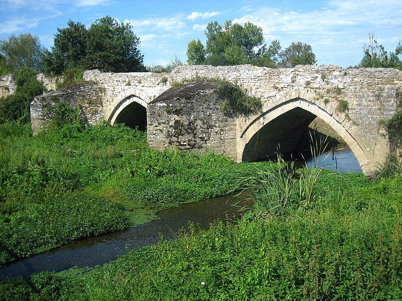 Photo du Monument Historique Ancien pont de Taizon (également sur commune de Bagneux et Argenton-l'Eglise) situé à Saint-Martin-de-Sanzay