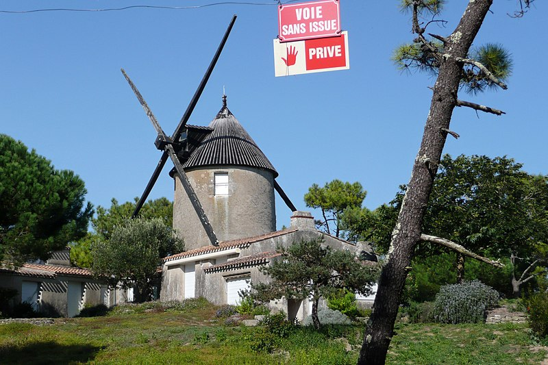 Photo du Monument Historique Moulin à vent de la Fosse situé à Barbâtre