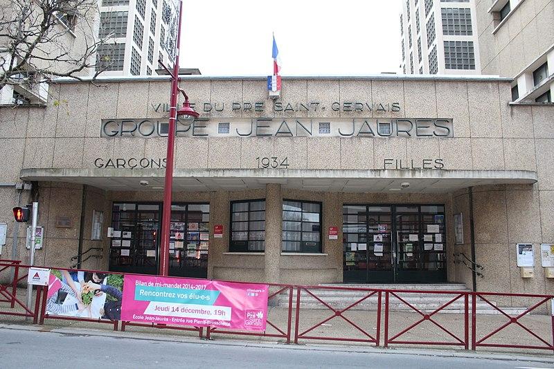 Photo du Monument Historique Groupe scolaire Jaurès-Brossolette situé à Le Pré-Saint-Gervais