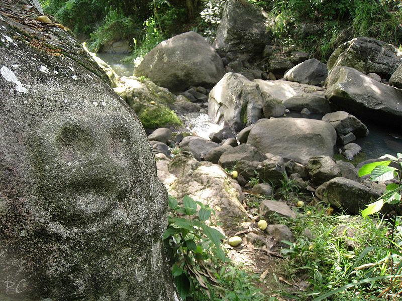 Photo du Monument Historique Site des roches gravées de la rivière Du Plessis situé à Baillif ;  Vieux-Habitants