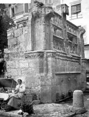 Fontaine Louis XII - Ensemble, marchande installée au pied du monument
