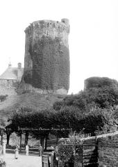Restes du château - Donjon, côté ouest, personnes en pose dans le jardin