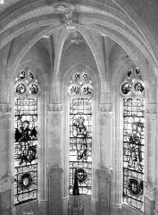Domaine de Chenonceau - Chapelle, intérieur : détail des fenêtres et de la voûte
