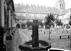 Ancienne abbaye royale de Fontevraud, actuellement centre culturel de l'Ouest - Cloître du Grand-Moutier et façade sud de l'église