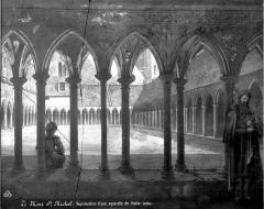 Abbaye et dépendances - Dessin à l'aquarelle : Vue d'ensemble du cloître