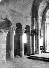 Eglise collégiale Saint-Austrégésile - Vue intérieure du chœur : colonnes