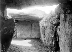 Tumulus à trois dolmens de Mané-Kérioned - Vue intérieure avec pierres sculptées