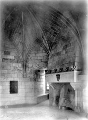 Tour de Trèves - Vue intérieure d'une salle voûtée avec cheminée