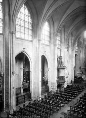 Eglise Saint-Leu-Saint-Gilles - Vue intérieure de la nef prise des tribunes : Grandes arcades nord