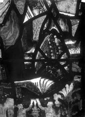 Eglise Saint-Martin - Vitrail, baie 4 (détail) : Mître et livre de Charles de Villiers, évêque de Beauvais