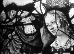 Eglise Saint-Martin - Vitrail, baie 10 (détail) : Tête de la sainte patronne de François de Montmorency, fils de Guillaume et d'Anne Pot