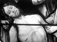 Eglise Saint-Martin - Vitrail, baie 10 (détail) : Buste du Christ