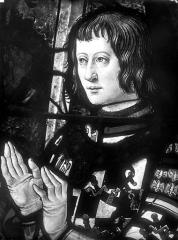 Eglise Saint-Martin - Vitrail, baie 10 (détail) : Buste de François de Montmorency, fils de Guillaume et d'Anne Pot