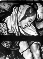Eglise Saint-Martin - Vitrail, baie 10 (détail) : Buste de sainte Madeleine