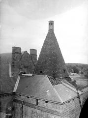 Ancienne abbaye royale de Fontevraud, actuellement centre culturel de l'Ouest - Tour d'Evrault (ancienne cuisine) : Toiture, côté nord-ouest