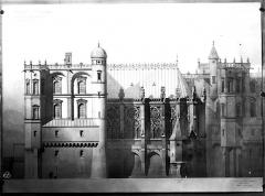 Domaine national de Saint-Germain-en-Laye, actuellement Musée des Antiquités Nationales - Projet de restauration : Elévation de la façade sud-ouest et de la Sainte-Chapelle