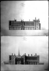 Domaine national de Saint-Germain-en-Laye, actuellement Musée des Antiquités Nationales - Projet de restauration : Elévations des façades sud et nord