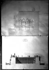 Domaine national de Saint-Germain-en-Laye, actuellement Musée des Antiquités Nationales - Projet de restauration : Coupe longitudinale de la Sainte-Chapelle, côté extérieur. Coupe longitudinale de l'aile nord, côté cour