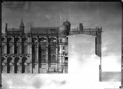 Domaine national de Saint-Germain-en-Laye, actuellement Musée des Antiquités Nationales - Projet de restauration : Coupe longitudinale de la Sainte-Chapelle, côté cour