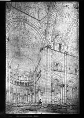 Abbaye Notre-Dame - Dessin. Eglise : Vue intérieure de la croisée et du choeur, vers le sud-est