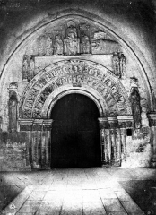 Ancienne collégiale Saint-Ours - Vue intérieure du porche ouest : portail