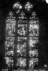 Eglise - Vitrail du choeur, côté sud : Vie de saint Nicolas