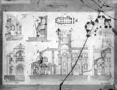 Eglise Notre-Dame - Plan d'ensemble, plan de l'abside, coupes longitudinale et transversale, élévation de la façade ouest, dessin des chapelles du chœur