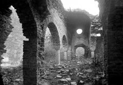 Abbaye de Saint-Martin du Canigou - Ancienne église : Vue intérieure de la nef vers l'entrée