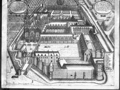 Ancienne abbaye de Saint-Jean-des-Vignes - Gravure : Vue cavalière