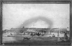 Domaine national de Versailles - Aquarelle : Le château et le char d'Apollon