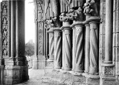 Cathédrale Notre-Dame - Portail central de la façade sud : soubassement du piédroit gauche