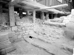 Cathédrale Saint-Pierre Saint-Paul - Crypte en cours de fouilles : ancien escalier et base d'une colonne