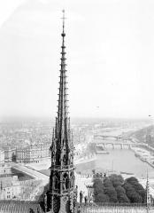 Cathédrale Notre-Dame - Flèche. Vue sur les ponts de la Seine